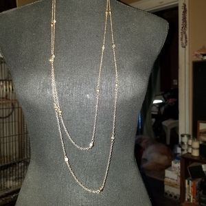Jewelry - Double Strand Rhinestone and Gold Necklace